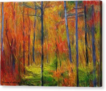 Canvas Print featuring the painting Forest In The Fall by Bruce Nutting