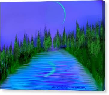 Forest Lake. Night. Canvas Print by Dr Loifer Vladimir