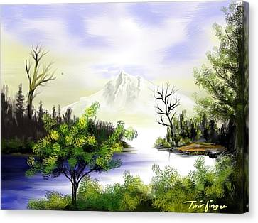 Forest Lake Canvas Print by Twinfinger