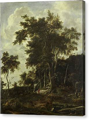 Forest Landscape With A Woodsmans Shed, Roelant Roghman Canvas Print