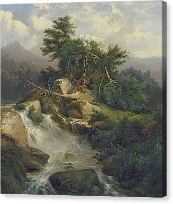 Forest Landscape With Waterfall  Canvas Print