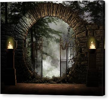 Forest Moon Gate Canvas Print by Suzanne Amberson