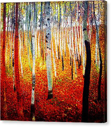 Forest Of Beech Trees Canvas Print by Celestial Images