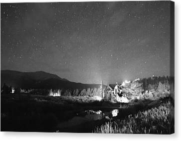 Forest Of Stars Above The Chapel On The Rock Bw Canvas Print