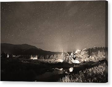 Forest Of Stars Above The Chapel On The Rock Sepia Canvas Print