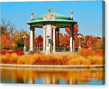 Canvas Print featuring the photograph Forest Park Gazebo by Peggy Franz