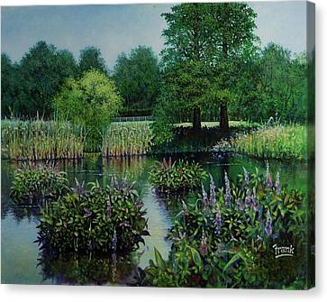 Canvas Print featuring the painting Forest Park Pond Scene by Michael Frank