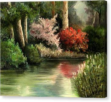 Canvas Print featuring the painting Forest Pond by Mikhail Savchenko