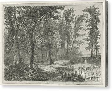 Forest Scene With A Natural Pond With Ducks Canvas Print by Hermanus Jan Hendrik Van Rijkelijkhuysen