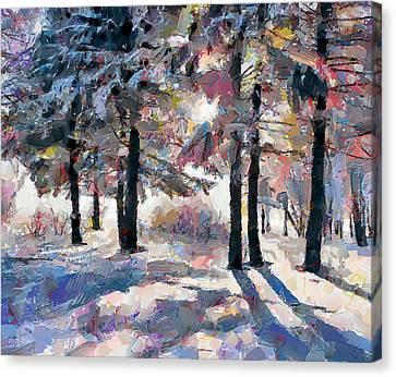 Forest Snow Shadows Canvas Print by Yury Malkov