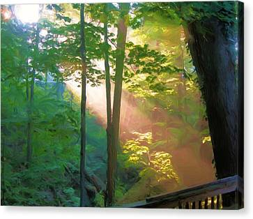 Forest Sunbeam Canvas Print by Dennis Lundell