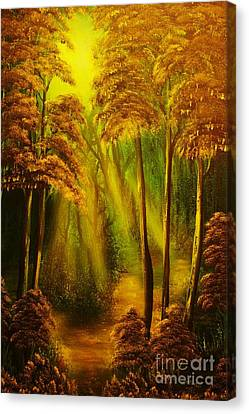 Forest Sunrays- Original Sold -buy Giclee Print Nr 38 Of Limited Edition Of 40 Prints  Canvas Print