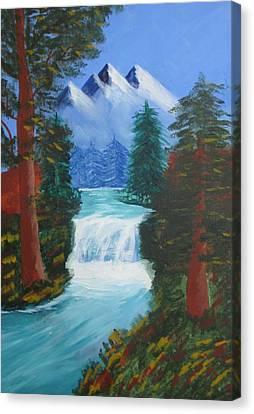 Forest Waterfall Canvas Print by Haleema Nuredeen