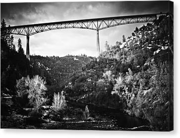 Foresthill Bridge In The Snow 2 Canvas Print by Sherri Meyer