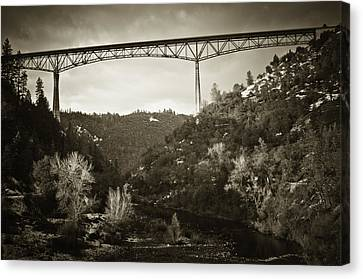 Canvas Print featuring the photograph Foresthill Bridge In The Snow #3 by Sherri Meyer