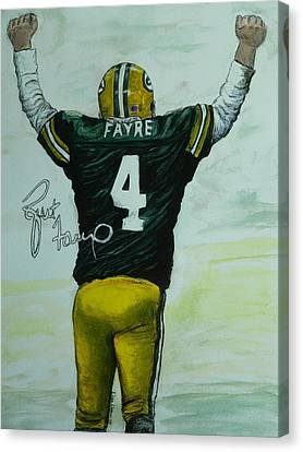 Canvas Print featuring the painting Forever Favre by Dan Wagner