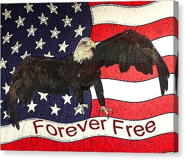 Eagle And Flag Canvas Print - Forever Free by Ernie Echols