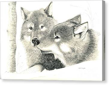 Forever Wolf Love-the Greeting Canvas Print by Joette Snyder