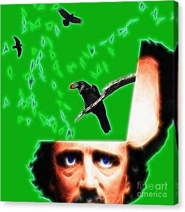 Forevermore - Edgar Allan Poe - Green - Square Canvas Print by Wingsdomain Art and Photography