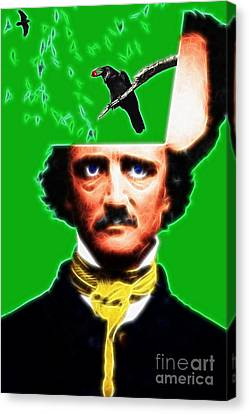 Forevermore - Edgar Allan Poe - Green - Standard Size Canvas Print by Wingsdomain Art and Photography