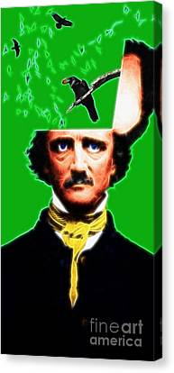 Forevermore - Edgar Allan Poe - Green Canvas Print by Wingsdomain Art and Photography