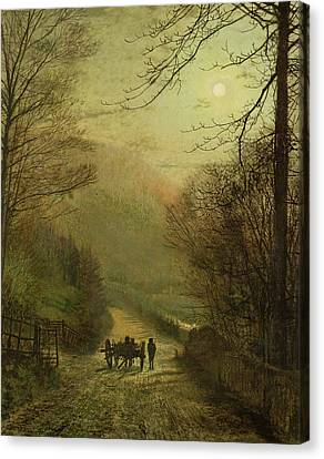 Cart Horse Canvas Print - Forge Valley, Scarborough by John Atkinson Grimshaw
