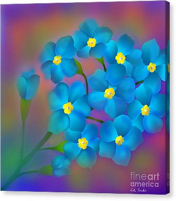Canvas Print featuring the digital art Forget- Me -not Flowers by Latha Gokuldas Panicker