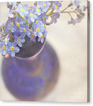 Forget Me Nots In Blue Vase Canvas Print
