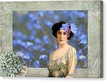 Forget-me-nots Vintage Collage Canvas Print by Peggy Collins