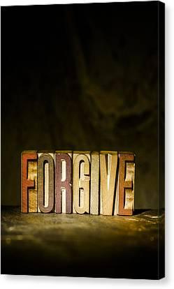Forgive Antique Letterpress Printing Blocks Canvas Print by Donald  Erickson
