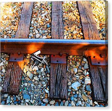 Forgotten - Abandoned Shoe On Railroad Tracks Canvas Print by Sharon Cummings