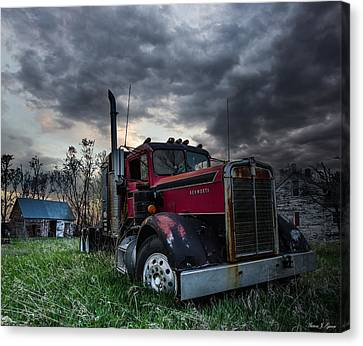 Shed Canvas Print - Forgotten Big Rig by Aaron J Groen