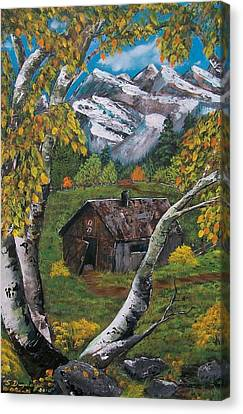 Canvas Print featuring the painting Forgotten Cabin  by Sharon Duguay