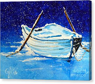 Canvas Print featuring the painting Forgotten Rowboat by Jackie Carpenter