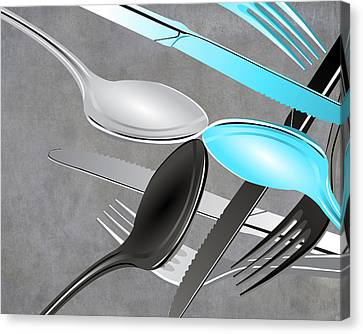 Fork Knife Spoon 4 Canvas Print by Angelina Vick