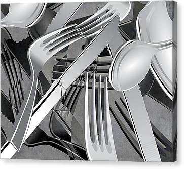 Fork Knife Spoon 7 Canvas Print by Angelina Vick