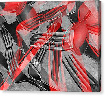 Fork Knife Spoon 8 Canvas Print by Angelina Vick