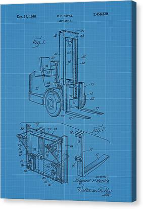 Forklift Blueprint Patent Canvas Print