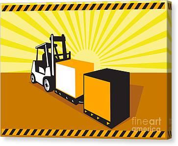Forklift Truck Materials Handling Retro Canvas Print by Aloysius Patrimonio