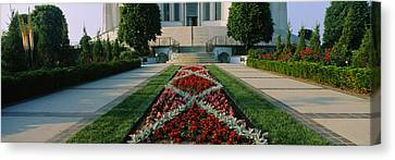 Formal Garden In Front Of A Temple Canvas Print by Panoramic Images