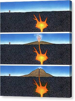 Formation Of A Volcano Canvas Print by David A. Hardy