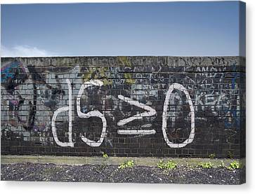Formula For Entropy Painted On Old Wall Canvas Print
