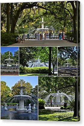 Forsyth Fountain Collage Canvas Print by Allen Beatty
