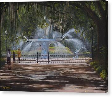 Forsyth Park Fountain Savannah Ga Canvas Print by Alex Vishnevsky