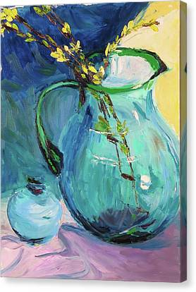 Forsythia In A Glass Jar Canvas Print