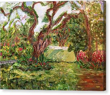 Canvas Print featuring the painting Fort Canning Wonderland by Belinda Low