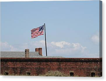 Fort Clinch And Us Flag Canvas Print