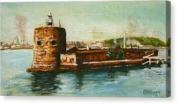 Fort Denison 1930's - Pinchgut Canvas Print by Lyndsey Hatchwell