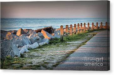 Fort Fisher Rocks At  Sunrise Canvas Print by Phil Mancuso