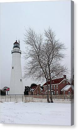 Fort Gratiot Light In Winter 5 Canvas Print by Mary Bedy